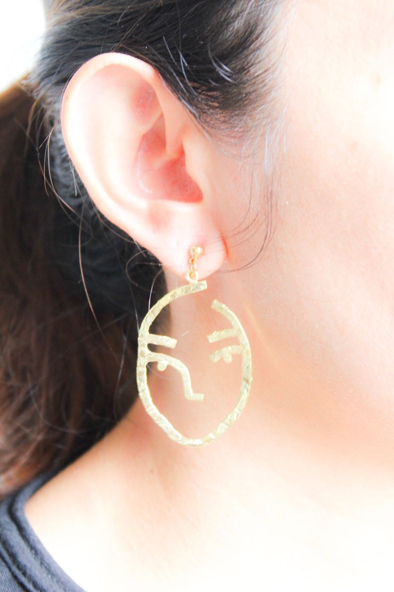 Earrings front - Human face Earring.