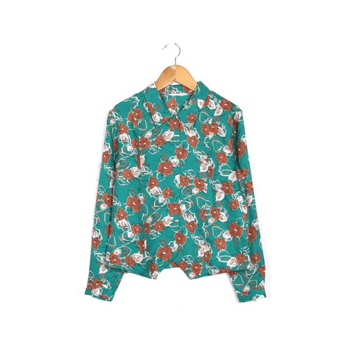 [Eggs] vintage emerald green plant flowers printed vintage shirt