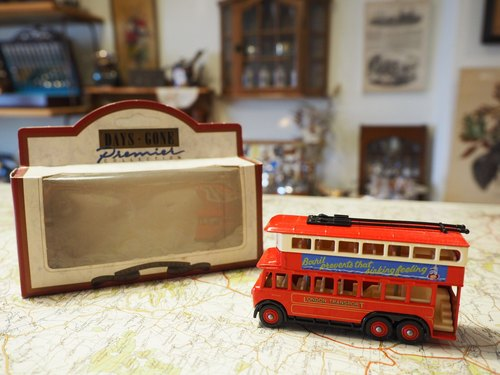 British system early red double small bus (with original box) (JS)