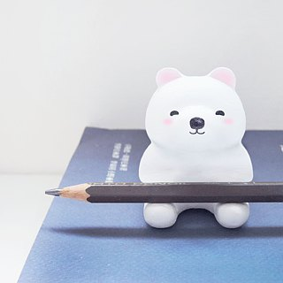 Uncle sitting on polar bear pen holder paper town decoration handmade wooden healing small wood carving