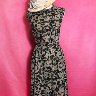 Flower Slanted Sleeveless Vintage Dress / Foreign Return to VINTAGE