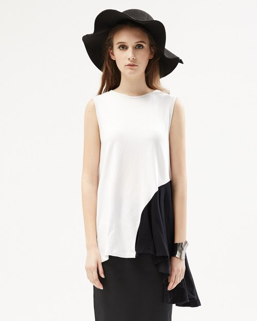 Bulk sided shirt design sense Asymmetric Sleeveless Top with Ruffle Side