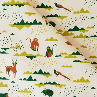 Hand-Printed Cotton Canvas - 250g/y/Trekking/Fresh Red & Green