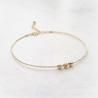 18K Yellow Solid Gold Adjustable Dainty Thin Memory Wire Bangle w/ Faceted Beads
