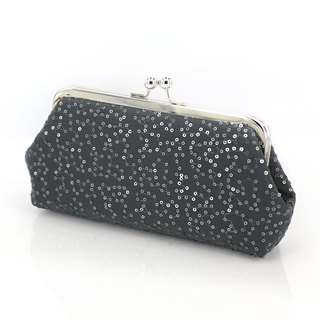 Handmade Clutch Bag in Grey | Gift for Mom, Bridesmaids | Metallic pewter Charcoal Sequins
