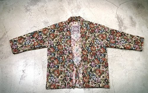 AMIN'S SHINY WORLD handmade custom KIMONO crude rose flower jacquard full version smock coat jacket