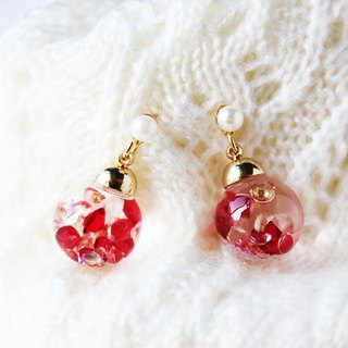 * Rosy Garden * Rosy crystal flowing inside glass ball earrings