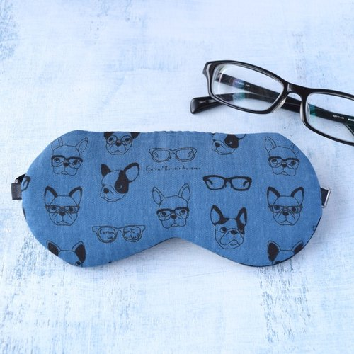 Smart Dog Navy /eye mask/ 無料ポーチ付/旅行/