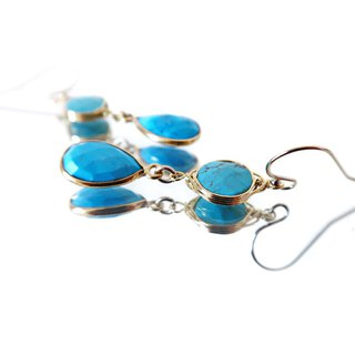14KGF/ TURQUOISE COMBINATION EARRINGS