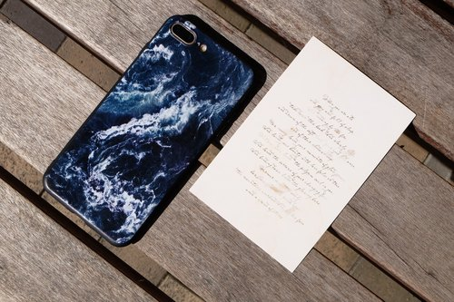 Original Simple Ocean Wind iPhone Samsung Millet Oppo vivo Mobile Case Soft Shell Black Soft Edge - Deep Blue