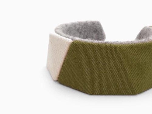 Unique canvas bracelet, Kawaii delta bangle,3D print, 3D printing, 3D printed, Gift for women, felt natural unbleached【カーキ】
