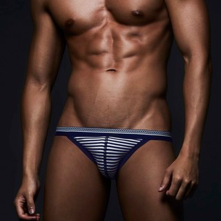 (New) BF007 male bikini triangle underwear - blue and white