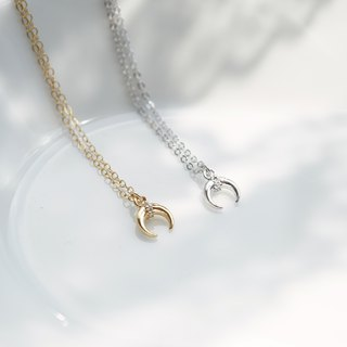 Mini Horn Necklace - 14K Gold Filled - 925 Sterling Silver - Mini Crescent Moon