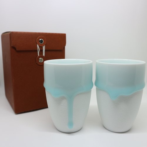 "Blessing series Gift ""melt in baby blue - ceramic coffee cup combination"" (No.) into 2 groups"