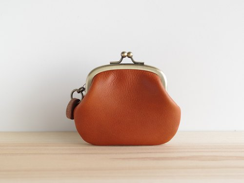 Limited [Camel × vermilion red] Nume leather purse