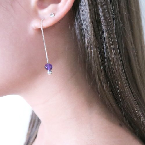 Amethyst Venice Long Chain Earrings (Large) Natural Stone Earrings in Sterling Silver