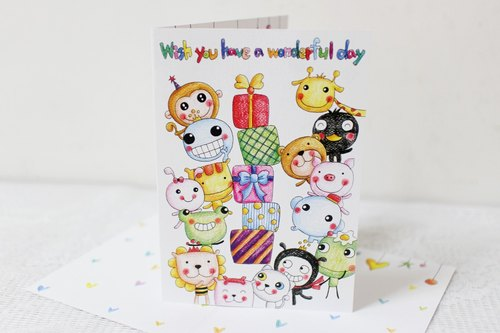 Illustration big card _ birthday card / card (animal gift)