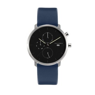 Minimal Watches : MONOCHROME CLASSIC - ONYX/LEATHER (Blue)