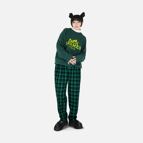 A‧PRANK: DOLLY :: retro with vintage checkered plaid wool suit pants straight wide (black and green color section) (M can wear)