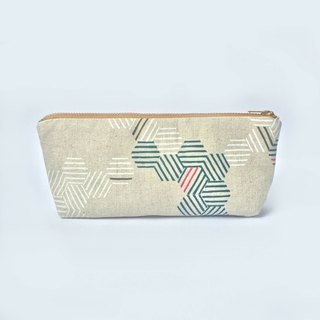 筆袋/化妝袋 Canvas Zipper Pouch, Minimal Honeycomb Geometric
