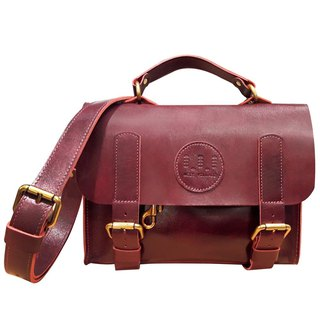 Small Book Side Backpack / School Shoulder Bag / Burgundy / Cow Leather / Hand Limited