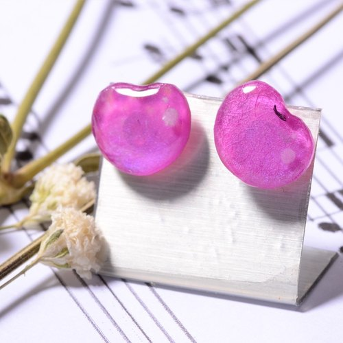 Cherry handmade color lead drawing drawing, gold earrings, creative hand, can be customized