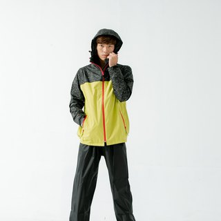 OH!MY Knit Quick Dry Two-Piece Raincoat - Lime Yellow / Black