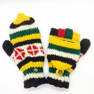 Nepal 100% wool hand-knitted pure wool thick gloves - Yellow x Green x Red Clover pattern style