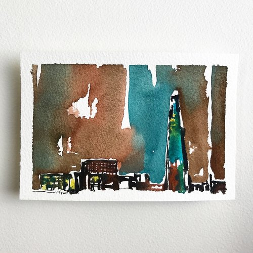 Original watercolor postcard - UK / London skyline / 03 (hereby a)