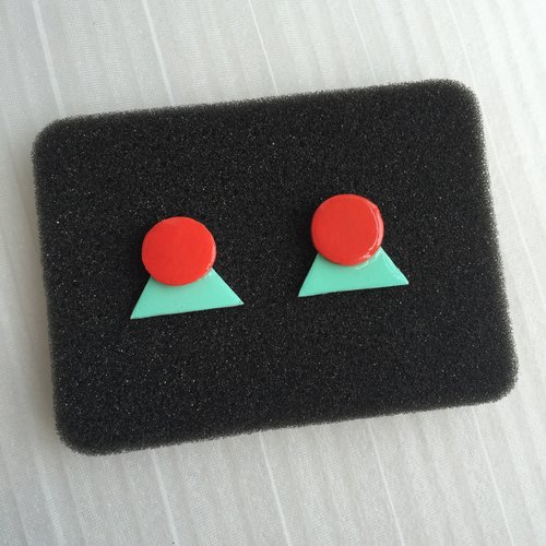 [Can be changed without pierced ear clip] handmade acrylic - Cute stylish simplicity personality magazine America and Japan original meaning elegant banquet nightclub - green and red geometric pattern irregular triangle round heart-shaped - Long earrings e