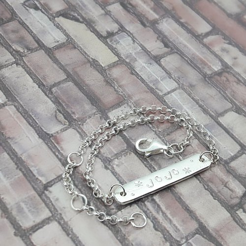 Z6 fine chain subsection (available Qiaozi) 925 sterling silver bracelet. Customized English alphanumeric. Royal Carpenter knock ornaments