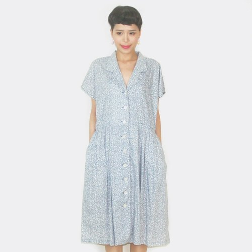 Light blue floral cotton short-sleeved vintage dress AS8007