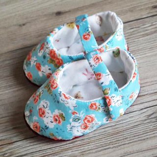 Blue garden baby shoes