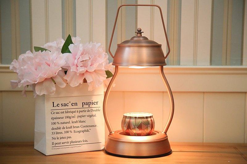 復古提燈式融蠟燈/蠟燭暖燈-古銅-送精油大豆蠟燭-現貨-可調光