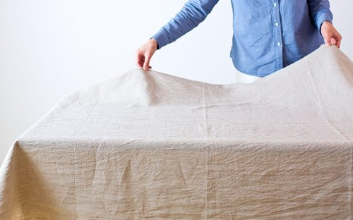 [Custom-made] 110 × 140cm organic linen tablecloths (Unbleached: beige)