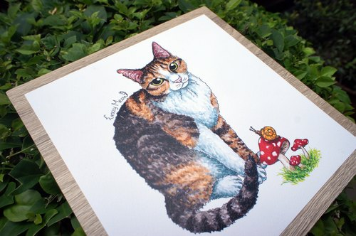 Crazy cat exclusive customized pet illustration painted portrait (single general specifications pets)