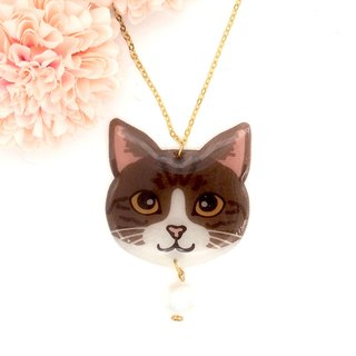 Meow handmade cat and cotton pearl necklace - brown and white cat