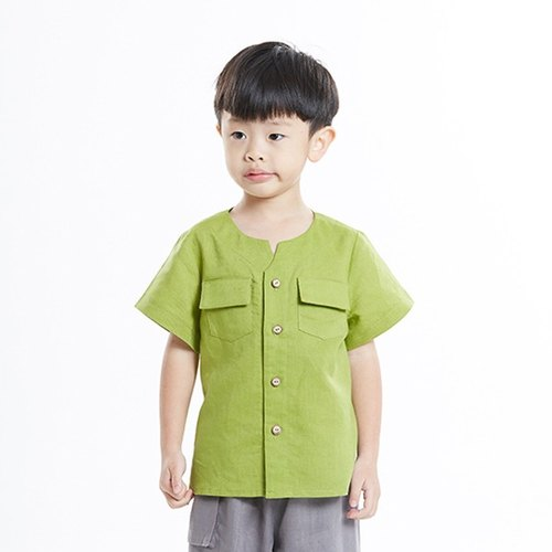 L0273 boys small V port short-sleeved collarless shirt - green grass