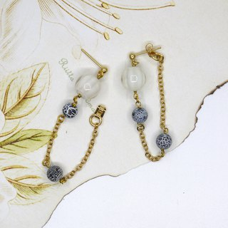 round glass snake agate earrings