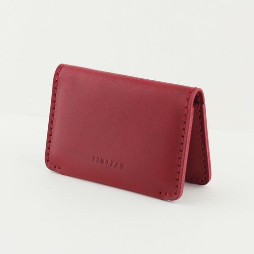 "LINTZAN ""leather hand-sewn"" classic 2 fold card holder / clip folder - wine red"