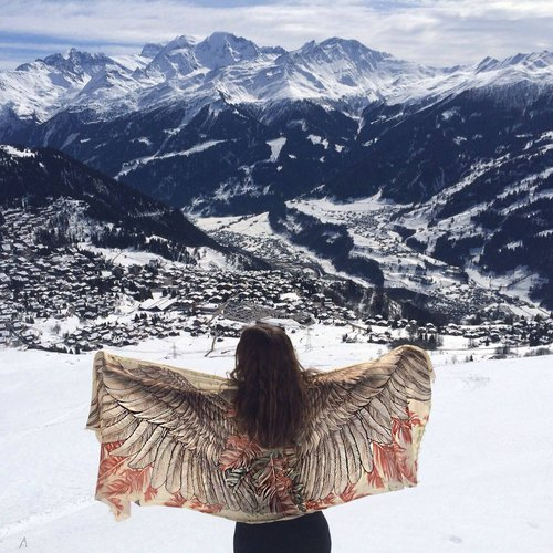 Earthy wings scarf - cotton