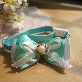 Shallow blue-green treasure _ ribbon bow ︱ safe hands to do cats and dogs pet collar / collar / hair accessories cherry pudding Cherry Pudding ♥ ♥