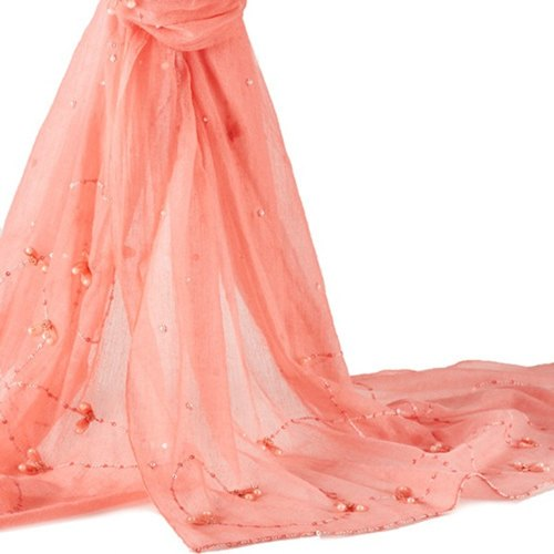 [Flower] ANGEL WOOLEN focussed (Orange) Pashmina shawls India exquisite handmade scarves