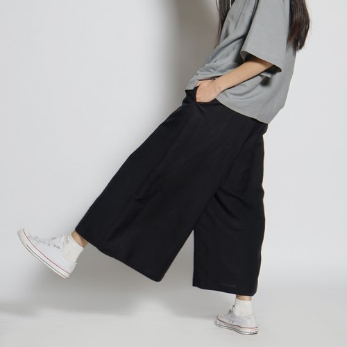 Black and white cut 17SS before the open fork wide pants skirt black