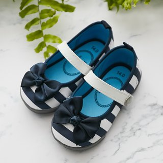 Irene blue and white striped bow doll shoes