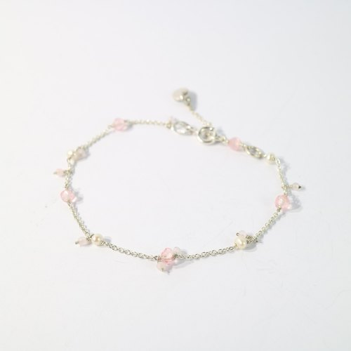 [ColorDay little smile] ~ pink tourmaline / tourmaline _ natural pearl sterling silver bracelet <Tourmaline_Natural Pearl Silver Bracelet>