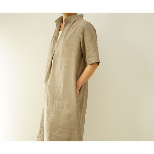 【wafu】 雅亜麻(Gaama) linen 100%  skipper dress / 榛色(hasibami-iro) a18-8