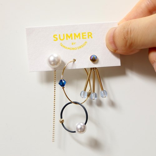 [Cosmos -midnight] earrings three-piece set