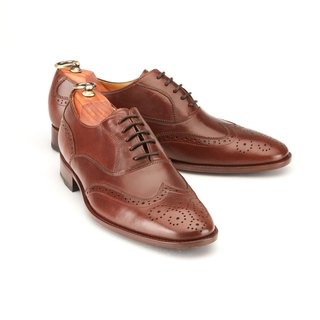 Lin Guoliang 3/4 Carved Sabre Wings Oxford Shoes Cocoa Coffee