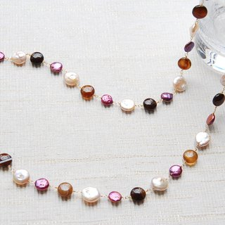 Coin type pearl and stone necklace stripe agate (14 kgf)